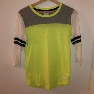 VS PINK Neon Yellow Colorblock Cropped Sleeve Top